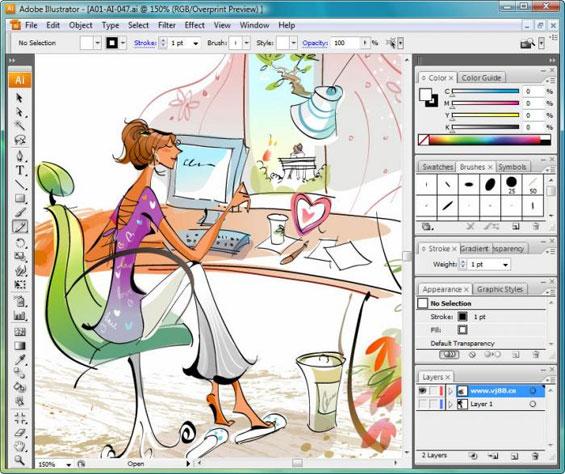 Área de trabalho do Illustrator
