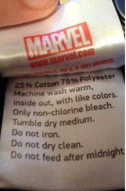 Etiqueta Marvel não alimentar após a meia noite.
