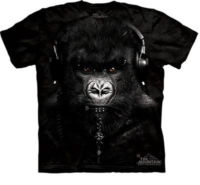 Camiseta DJ 3d macaco com fones.