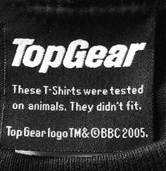 Etiqueta roupas Top Gear