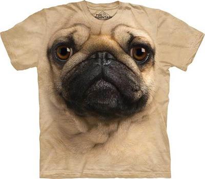 Pug camisa rosto 3d cachorro