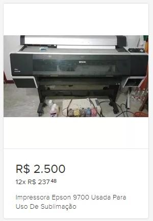 Preço da impressora sublimática usada no Mercado Livre
