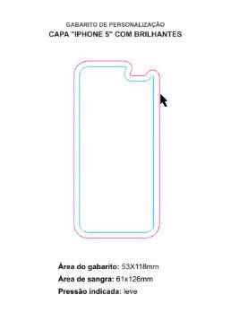 exemplo de gabarito com sangria para personalização de capa de iphone