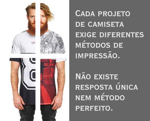 projeto de t shirt exige métodos de impressão diferente