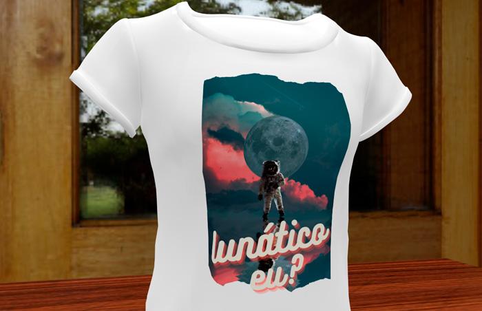 Arte para camiseta sublimada criada por aluno já no primeiro dia de curso
